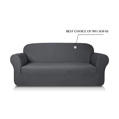 Subrtex 1-Piece Knit Jacquard Spandex Stretch Sofa Slipcovers (Sofa, Gray) (Modern Slipcover Sofa)
