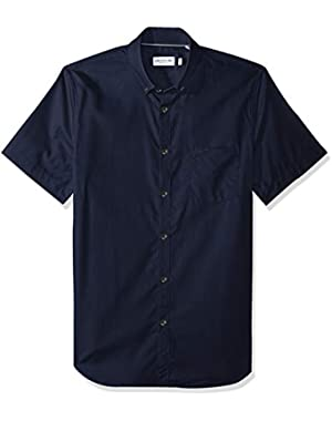 Men's Short Sleeve with Pocket Mini Pique Regular Fit Woven Shirt, CH9612