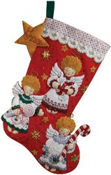 Bucilla 18-Inch Christmas Stocking Felt Applique Kit, 86259 Candy Angels