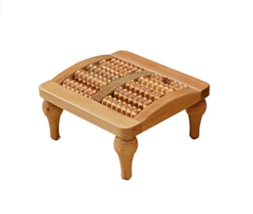 (HongTeng Cedar Massage Stool Bathroom Step Stool Foot Massage Stool Five Rows of Pure Solid Wood Foot Massage Beads)