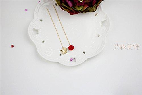 red Small Fragrant Women Girls Personality Earrings earings Dangler Eardrop Women Gift Long Korean Creative Charming Necklace Pendant Ear Wire Earrings Cents