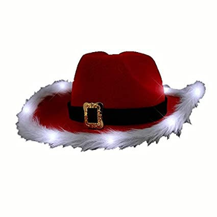 33918912c blinkee LED Flashing Christmas Cowboy Red Santa Clause Western Holiday Hat  by