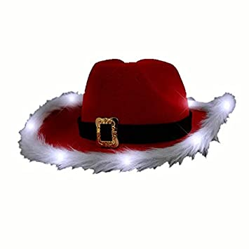 Amazon.com  blinkee LED Flashing Christmas Cowboy Red Santa Clause Western  Holiday Hat by  Toys   Games e58c10d460b