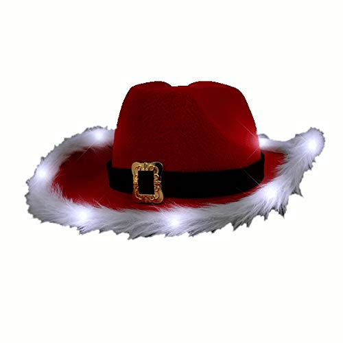 Christmas Hats With Lights (blinkee LED Flashing Christmas Cowboy Red Santa Clause Western Holiday Hat)