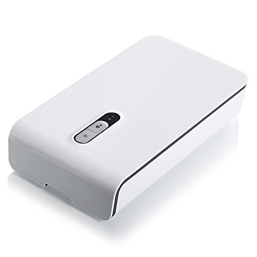 UV Cell Phone Sanitizer by Blazin' Bison   Charger, Watch Cleaner, Aromatherapy   Kill Colds At Their Source (White)