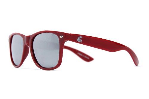 NCAA Washington State Cougars WSU-1 Crimson Frame, Silver Lens Sunglasses, One Size, - Wsu Sunglasses