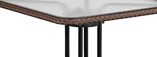 Flash Furniture 28 Square Tempered Glass Metal Table with Dark Brown Rattan Edging