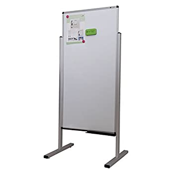 VIZ-PRO Double-sided Magnetic Stand Whiteboard, 48 X 24 Inches, Aluminium Frame & Stand