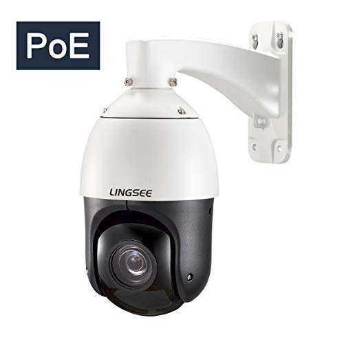 PTZ PoE Outdoor IP High Speed Dome Camera,20X Optical Zoom,Full HD1080p 2MP,4inch Mini,Night Vision up to 328ft Audio ONVIF LINGSEE Pre-Installed 32G Micro-SD Card(Wall - Mount Camera Bracket Ceiling Axis