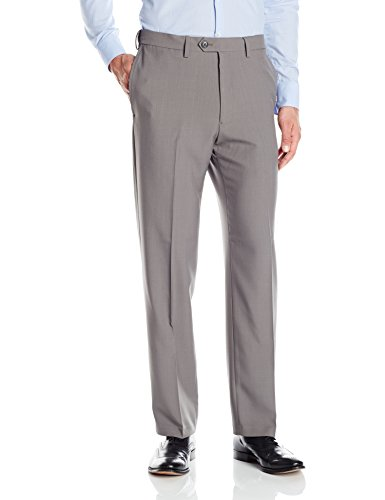 Haggar Men's Eclo Stria Expandable Waist Plain Front Dress Pant, Heather Grey, 36x34
