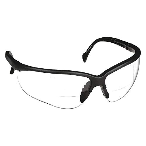 Radnor Premier Series Readers 2.0 Diopter Safety Glasses With Black Frame And Clear Polycarbonate ()