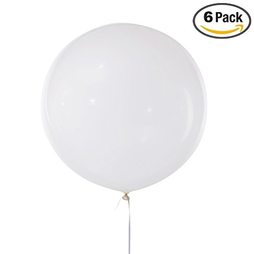 MOWO 36'' Giant Round Clear Latex Balloon Jumbo Helium Party Balloon (clear, 6pc)