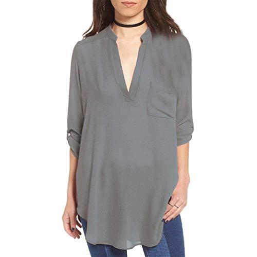 Giovane Magliette Autunno di 4 Allentato Moda Moda 3 V Chiffon Neck Tops Grazioso Grau Donna Blusa Primaverile Sciolto Solidi Camicetta Colori Camicia Manica Irregolare qR0Ew1C