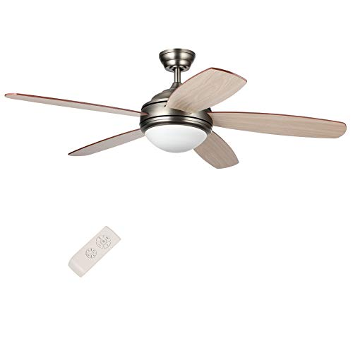 CO-Z 52-Inch Ceiling Fan with Five Cherry/Walnut Plywood Blades and Etched Opal Glass 15W LED(3000K) Light Kit, Remote Control Included, UL Certificate, Antique Pewter Finish (Antique Pewter) ()