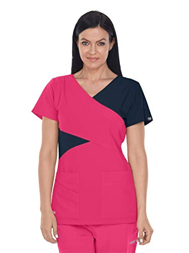 Grey's Anatomy Signature 2140 Contrast Mock Wrap Top Chateau Rose/Graphite XL