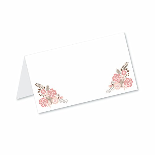 Boho Floral Blank Tented Table Place Cards (50 Count) - Fold Over Tent Style - Wedding, Bridal Shower, Dinner Party Banquet Event Place Seating Cards by Old Blue Door Invites
