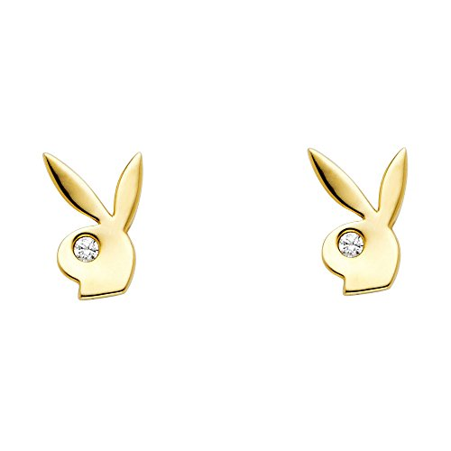 (Playboy Bunny Stud Earrings Solid 14k Yellow Gold Rabbit Studs Posts Stylish Polished Fancy 6 mm )