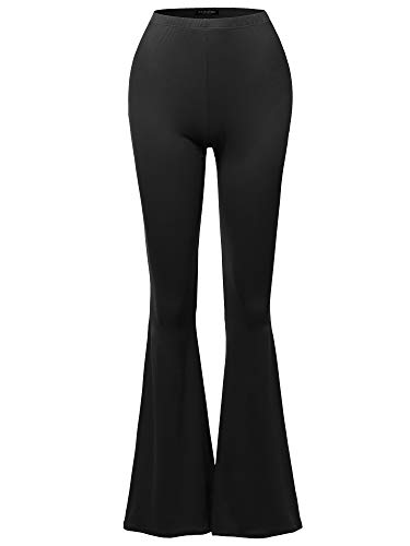 SSOULM Women's Lightweight High Waist Bell Bottom Flared Pants Black M