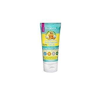 Badger Baby Sunscreen Cream – SPF 30 – All Natural Certified Organic,2.9 fl.oz 2.9 fl.oz pack of 2