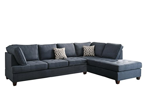 Asian Sofa Sectional (Poundex Bobkona Kemen Linen-Like Polyfabric Left or Right Chaise 2Piece SECTIONAL in Blue)