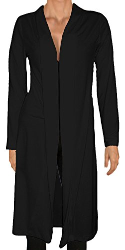 Ooh La La Long Hachi Knit Shawl Collar Cardigan (large 36-37, black) (Featherweight Long Cardigan)