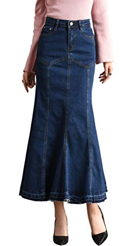 chouyatou Women's Casual Stretch High Waisted Front Button Long Denim Mermaid Skirt (Large, Blue01)