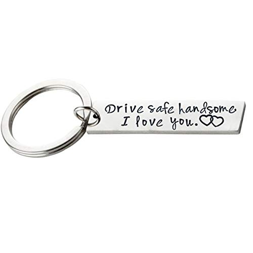 Beiswe Creative Alloy Keychain Drive Safe Handsome Beautiful I Love You Pendant Keyring Holder for Boyfriend Husband Charm Gift