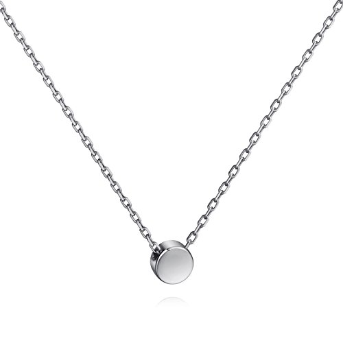 Tiny Dot Necklace Sterling Silver Floating Disc Circle Pendant Minimalist Necklace (silver) (Small Disc Pendant)