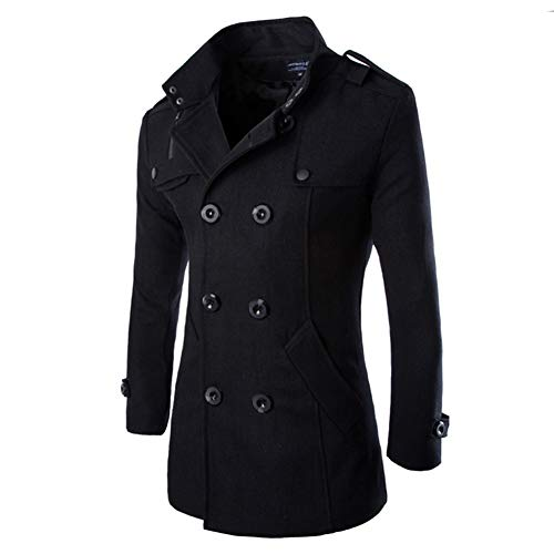 AOWOFS Men's Mid Long Wool Woolen Pea Coat Double Breasted Stand Collar Overcoat Winter Trench Coat Black