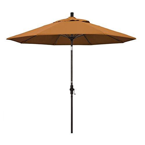 California Umbrella 9' Round Aluminum Pole Fiberglass Rib Market Umbrella, Crank Lift, Collar Tilt, Bronze Pole, Sunbrella Tuscan