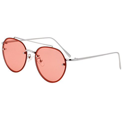 VIVIENFANG Rimless Colored Flat Lens Sunglasses Double Bridge Aviator Shades 87067B - Shades Frameless
