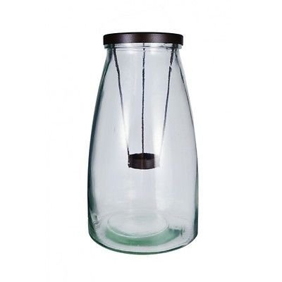 15X26Cm Milk Bottle Shape Glass Candle Holder With Applicator Clear