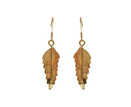 Vermeil Tree - Claire Hawley Handcrafted Sterling Silver With Gold Vermeil Rowan Tree Leaf Earrings