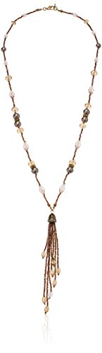 - Napier Pink Multi Beaded Tassel Drop Y Shaped Necklace