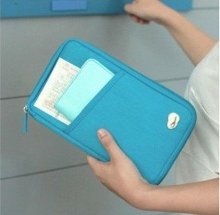 Travel Document Wallet With Hand Strap (Blue) - 2