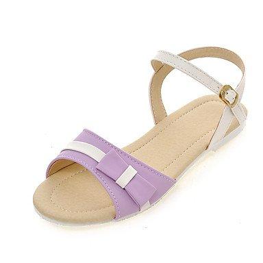 LvYuan Mujer-Tacón Plano-Zapatos del club-Sandalias-Fiesta y Noche Vestido Informal-Semicuero-Azul Rosa Morado Almendra Pink