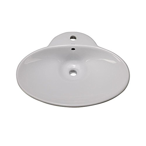 Decolav 1411-CWH Oval Vitreous China Vessel Above-Counter Vessel with Overflow, White