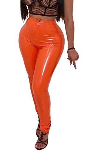 Baonmy Women's Winter PU Faux Leather Fleece Lining High Waist Leggings Long Pants Trousers