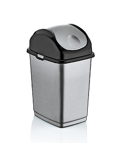 Charmant 9.2 Gallon Slim Trash Can (Grey)