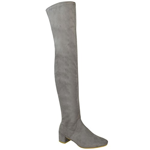 Fashion Thirsty Womens Over The Knee Flat Thigh High Low Block Heels Long Boots Zip Size 8 (Grey Womens Riding Boots)