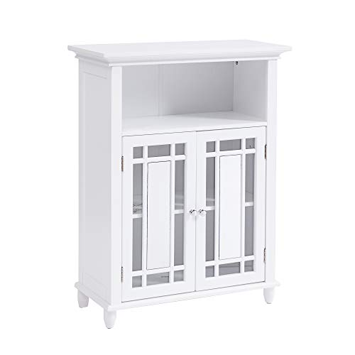 Circlelink Free Standing Mirrored Storage Cabinet for Living Room Bathroom, White
