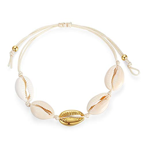 Bracelets Beach Shell - Summer Beach Natural Cowrie Shell Bracelet Handmade Woven Adjustable Boho Hawaii Sea Beach Bracelet for Women Girls (Bracelet-Gold)