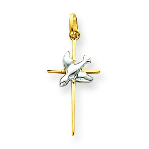 (14K Two Tone Gold Cross Dove Pendant Charm Jewelry)