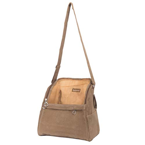 (XMSG Travel Mate Pet Carrier Sling Bag - Purse - Shoulder Strap Adjustable - Safety Rope - Puppy Carrying Bag - Cat Suede Sling Bag,Khaki)