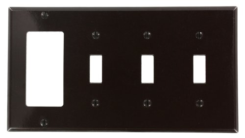 Toggle 1 Decora (Leviton P326 4-Gang 3-Toggle 1-Decora/GFCI Device Combination Wallplate, Brown)