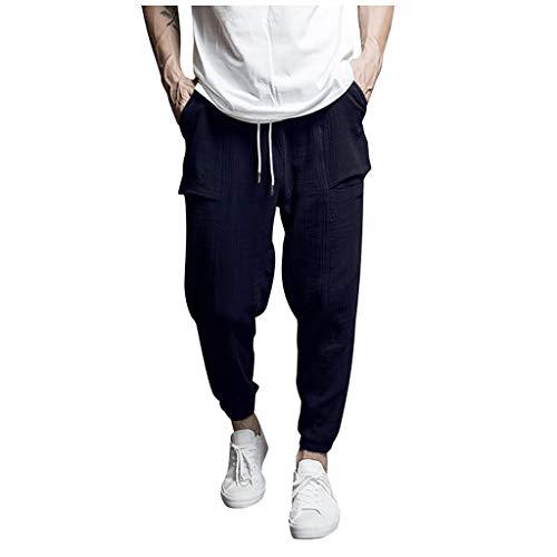 - ✿✿Mens Slim Fit Stretch Flat-Front Skinny Dress Pant Casual Elastic Waist Linen Capri Wide Leg Baggy Harem Pants Trousers Dark Blue