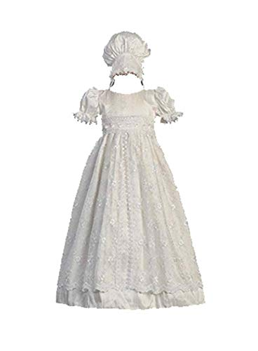 Swea Pea & Lilli White Silk and Embroidered Tulle Christening Baptism Gown - M (6-12 Month) -