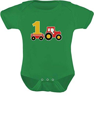 Tstars - One Year Old Boy Birthday Gift 1st Birthday Tractor Baby Bodysuit 18M (12-18M) Green