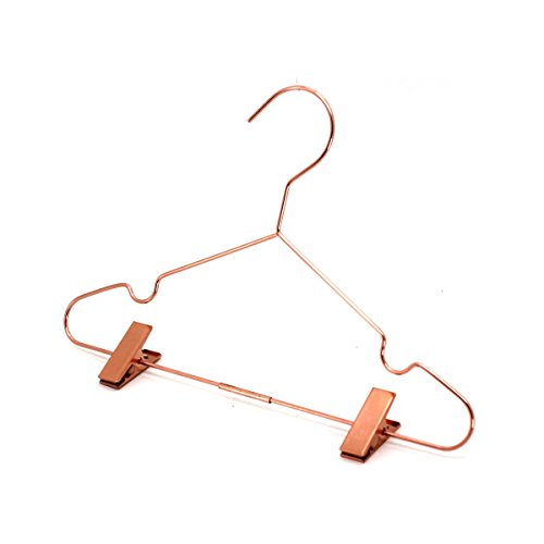 Koobay 50Pack 13'' Rose Copper Gold Shiny Metal Wire Top Clothes Hangers with Clips for Shirts Coat Storage & Display by Koobay (Image #4)