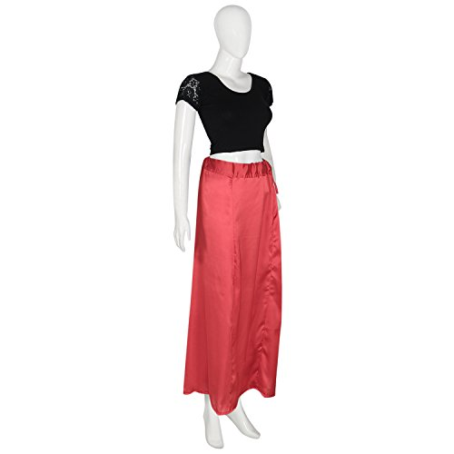 Shri Balaji Satin Silk Dark Red Skirt Indian Saree Petticoat Undercoat Lining Skirt Quilted